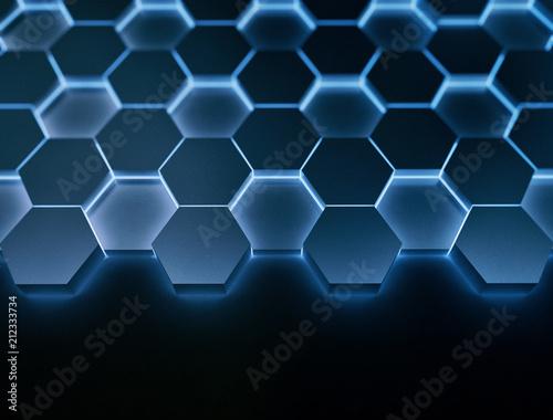 Blue hexagons, illustration - 212333734