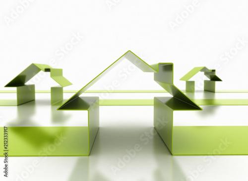 Green houses, conceptual illustration
