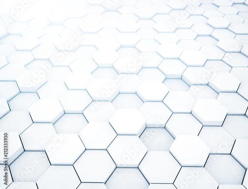White hexagons, illustration - 212333930