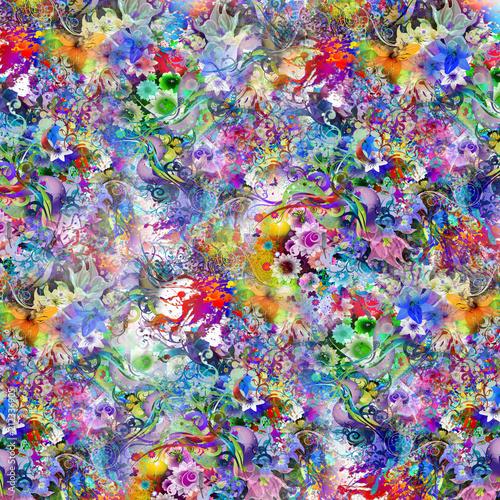 Цветные бабочки на фоне абстрактных волшебных брызг