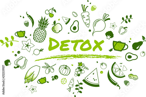 Fotografía detox concept: healthy and well-balanced food items - vector illustration