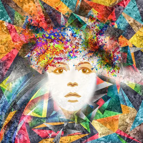 Абстрактные и мистические женщины лицо в маске в красочный фон форме сердца, изолированных на белом