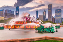Chicago, Illinois, USA Fountain And Skyline