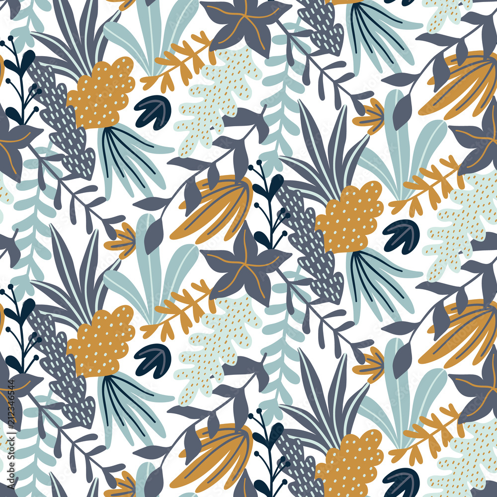 Fototapeta Modern seamless pattern with leaves and floral elements. Autumn pattern design. Good for printing. Vector wallpaper.