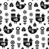 Sztuka ludowa bez szwu z ptaków i elementów dekoracyjnych kwiatów. Czarno-biały szablon wydruku. Dobre do drukowania. Skandynawski styl. Ilustracji wektorowych. - 212346587