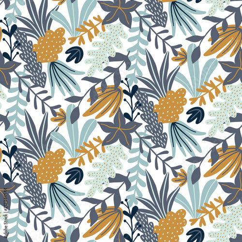 Modern seamless pattern with leaves and floral elements Fototapete