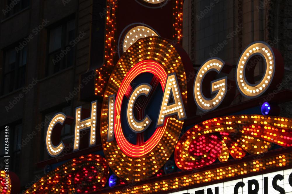 Fototapeta USA - Chicago Bright Neon