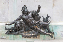 Statue Of Louis. In The Centre Of Place Bellecour(Lyon-France) Stands An Equestrian Statue Of King Louis XIV, Erected By Lemot In 1825. Detail Of The Monument To King Louis XIV