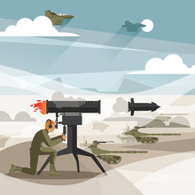 Vector Scene With Military Training And Education. Soldier With Grenade Launcher, Airplanes In Sky, Tanks On Ground