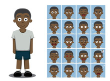 African American Boy Cartoon Emotion Faces Vector Illustration
