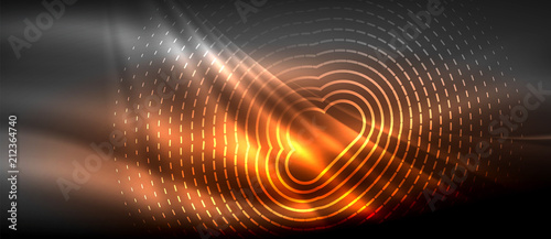 Fotografía Neon glowing wave, magic energy and light motion background