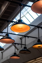 Some Ceiling Light Hanging From A Roof With A Skylight, Good Background