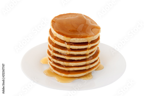 Stack of Pancakes with maple syrup on a plate isolated white background. Breakfast. Brunch. Dessert. Snacks. Family Food. Sweets. Fat Tuesday.