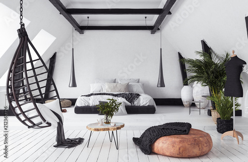 Obraz Modern open-plan apartment in attic, loft style, 3d render - fototapety do salonu