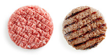 Raw And Grilled Burger Meat