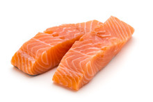 Fresh Salmon Fillet With Basil On The White Background.