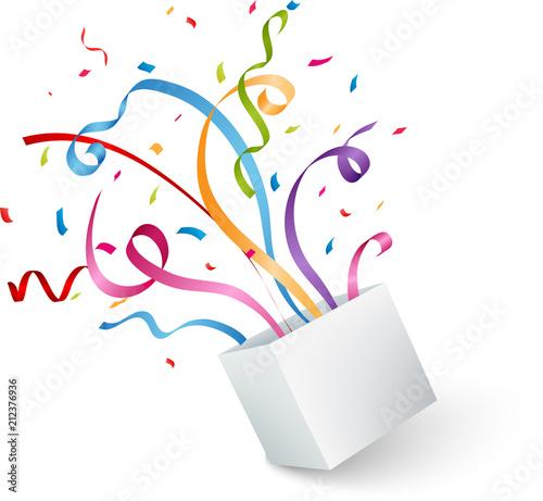 Obraz Open box with colorful confetti and ribbon - fototapety do salonu
