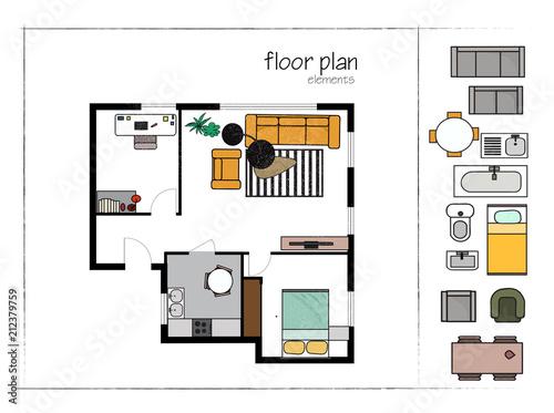 Rendered Floor Plan Vector Illustration Home House