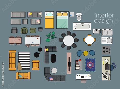 Vector Interior Design Floor Plan Home House Top View Collection Set Elements Stock Vector Adobe Stock