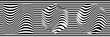 Panoramic Abstract Black and White Geometric Pattern with Stripes and Waves. Optical Psychedelic Illusion. Wicker Structural Texture. Raster Illustration