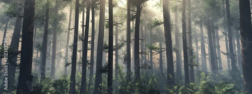 Fototapeta Trees in the fog. The smoke in the forest in the morning. A misty morning among the trees. 3D rendering obraz