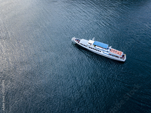 Obraz na plátně aerial ferry cruise ship top down above view isolated on water sea surface
