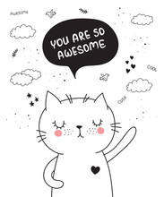 Vector Cartoon Poster With Cute Doodle Cat With Motivation Lettering Phrase