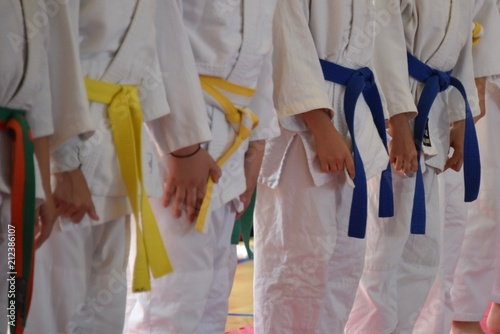 Black and colored belts of judo and martial arts