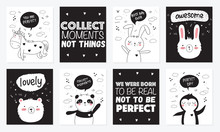Vector Cartoon Collection Of Postcards With Cute Doodle Animals With Motivation Lettering Phrase