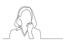Continuous Line Drawing Of Woman Thinking About Problems