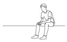 Continuous Line Drawing Of Sitting Young Man Thinking