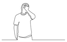 Continuous Line Drawing Of Standing Upset Man