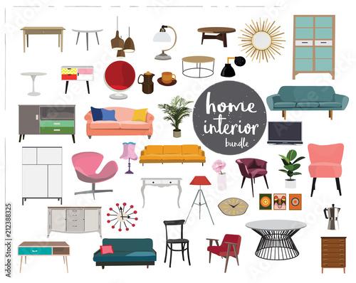 Vector Interior Design Elements Furniture Mid Century Modern