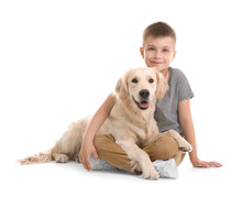 Cute Little Child With His Pet On White Background