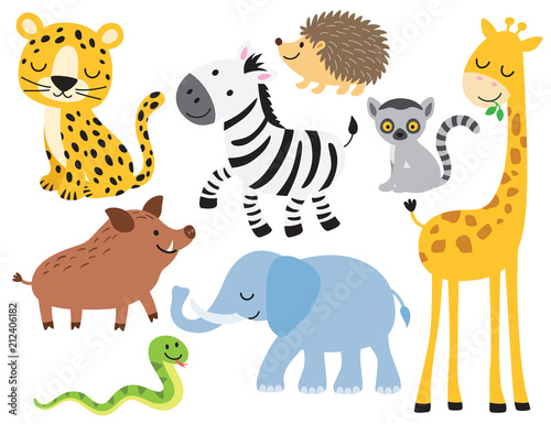 Photo  Vector illustration of cute wild animals including leopard, zebra, giraffe, elephant, boar, hedgehog, snake, elephant and lemur