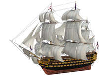 3D Rendering The Of HMS Victory With British Flags Isolated On White