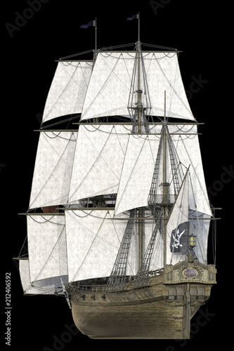 Close up 3d rendering of pirate ships scene isolated on black Canvas Print