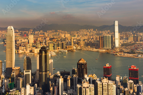 Poster Stad gebouw City business downtown office building, Hong Kong aerial view