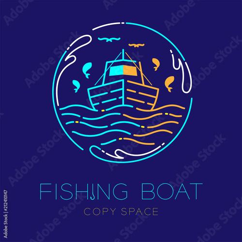 Fishing boat, fish, seagull, wave and Water splash circle frame shape logo icon Fototapeta