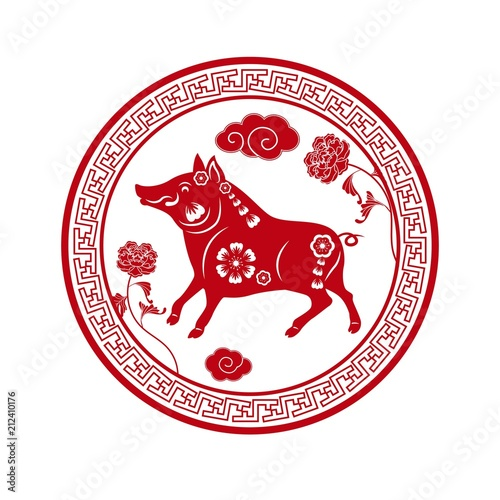 Happy Chinese new year 2019  Year of the pig  Red sticker vector