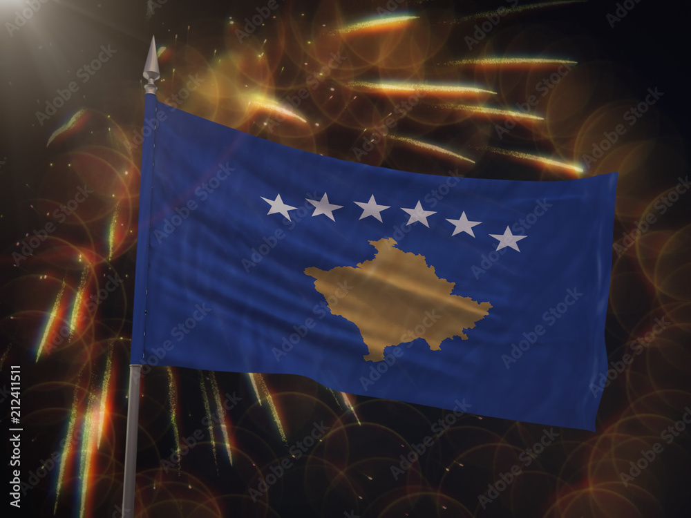 Flag Of Kosovo With Fireworks Display In The Background Foto Poster