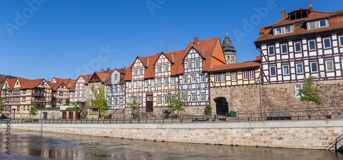 Fotografie, Obraz  Panorama of colorful houses at the Fulda riverside in historic Hannoversch Munde