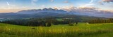 Mountain landscape at sunrise - spring panorama of the Tatra Mountains, Poland