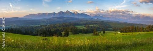 Fototapeta Mountain landscape at sunrise - spring panorama of the Tatra Mountains, Poland obraz
