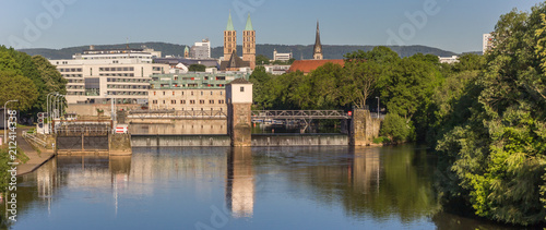 Valokuva  Panorama of the Fulda river and church towers of Kassel, Germany
