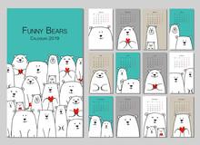 Funny White Bears Family. Design Calendar 2019