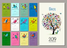 Birds Tree, Calendar 2019 Design