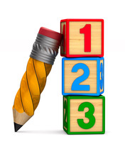 Block With Number And Pencil O...