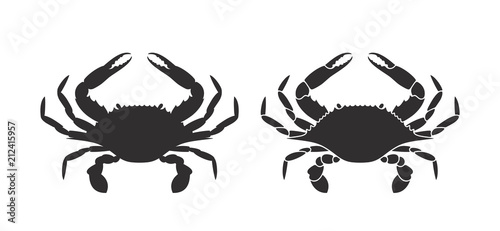 Photo  Crab silhouette. Logo. Isolated crab on white background