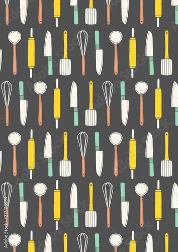 Cooking Pattern Background Hand Drawn Kitchen Utensils Wallpaper